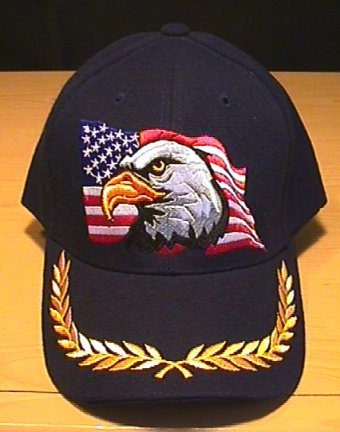 EAGLE ON FLAG CAP W/BRAID - NAVY BLUE