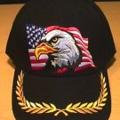 EAGLE ON FLAG CAP W/BRAID - BLACK