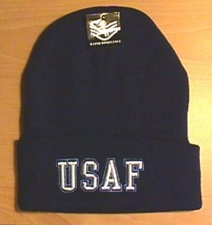 AIR FORCE TEXT LOGO WINTER KNIT - NAVY BLUE