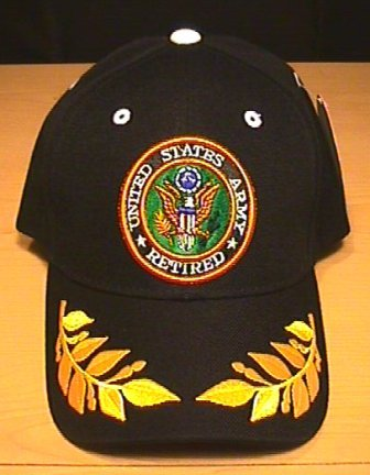 ARMY RETIRED CAP W/CAESAR ACCENTS - BLACK