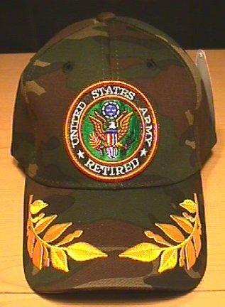 ARMY RETIRED CAP W/CAESAR ACCENTS - WOODLAND CAMO