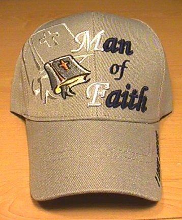 MAN OF FAITH CHRISTIAN CAP - GRAY