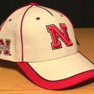 NEBRASKA CORNHUSKERS WHITE CAP W/RED PIPING