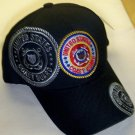 COAST GUARD WITH CIRCLE LOGO AND GREY SHADOW EMBROIDERY - BLACK