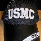 USMC MESH CAP W/LEATHER BILL - BLACK