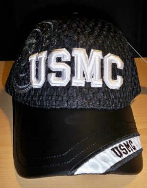 USMC MESH CAP W/LEATHER BILL - BLACK