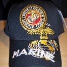 MARINE CIRCLE LOGO W/3D TEXT ON BILL CAP - BLACK