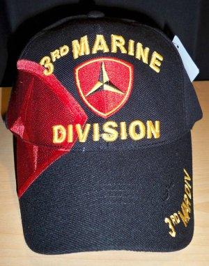 3RD MARINE DIVISION CAP W/SHADOW - BLACK