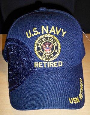 NAVY RETIRED CAP W/SHADOW - NAVY