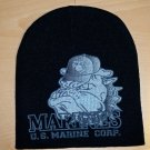MARINE SCREEN PRINT BEANIE - BLACK