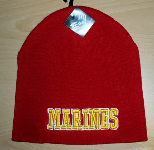 MARINES 3D TEXT BEANIE - RED
