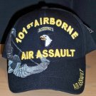 101st AIRBORNE AIR ASSAULT HAT W/GREY SHADOW EMBROIDERY - BLACK