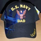 "US NAVY ""DAD"" CAP WITH NAVY SHADOW EMBROIDERED - BLACK"