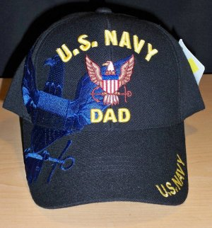 """US NAVY """"DAD"""" CAP WITH NAVY SHADOW EMBROIDERED - BLACK"""