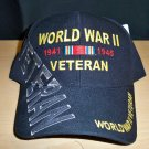 WWII VETERAN HAT W/GREY SHADOW EMBROIDERY - BLACK