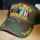 GULF WAR VETERAN WOODLAND CAMO CAP W/RIBBON