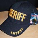 SHERIFF CAP - BLACK W/RAISED GOLD LETTERING