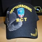 187TH AIRBORNE REGIMENT W/GREY SHADOW EMBROIDERY - BLACK
