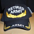 RETIRED ARMY W/GOLD ACCENTS ON BILL & CROWN - BLACK