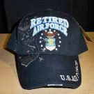 AIR FORCE RETIRED CAP W/SHADOW #2- BLACK