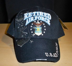 AIR FORCE RETIRED CAP W/SHADOW #2- BLACK