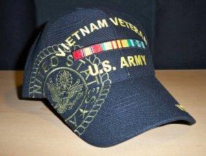 ARMY VIETNAM VETERAN SHADOW CAP W/RIBBON - BLACK