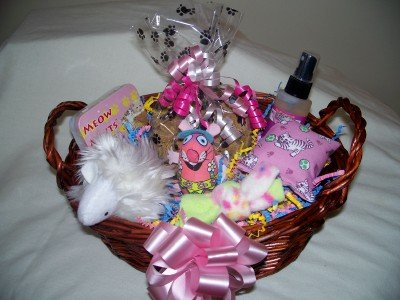 Purrfect Kitty Cat Gift Basket for Cats or Kittens in Pink