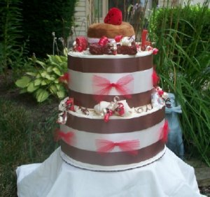 Strawberry Cream Pup 2Tier Puppy Training Pad Shower Gift Cake