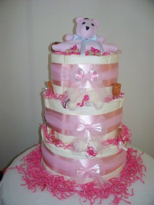 Three Tier Pretty in Pink Layered Puppy Training Pad Cake