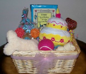 Puppys First Birthday Gift Basket For Dogs