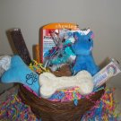 New Puppy Bouncing Baby Boy Gift Basket for Dogs