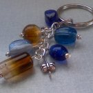 Blue and Brown Glass Bead Charm Keychain Bag Accent