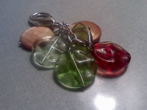 Green Red Brown Pinched Beads Purse Bag Accent keychain