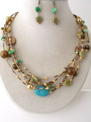 Brown Bead Necklace and Earring Set