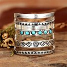 Bohemian ring with geometric pattern, antique inlaid