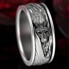 Bohemian retro style ring with zircon for men and women with wolf engraving