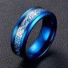 Fashionable Blue Tungsten Carbide Ring Dragon Blue Carbon Fiber