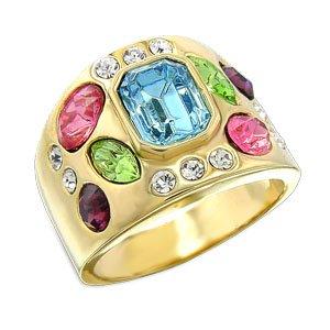 Multicolor Swarovski.Crystal Ring SZ 7