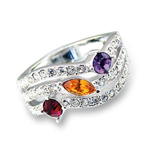 Multicolor Swarovski.Crystal Ring