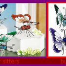 SET OF 4 ART GLASS BUTTERFLY FIGURINE SITTER SET NEW FREE SHIPPING