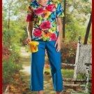 2pc tropical blossom pants set new womans