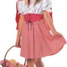 RED RIDING HOOD Costume Dress w/ Red Hooded Cape Child Large12-14 bin121 NEW