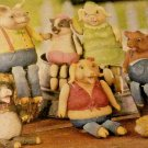 PIG FAMILY SITTERS GREAT ON ANY SHELF  BOOK CASE OR KIDS ROOM LOV THEM & KITCHEN