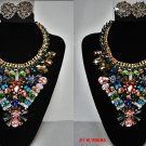 Awesome Runway SIZ Geometric Abstract FAUX CRYSTAL STATEMENT NECKLACE W/EARRINGS