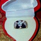 Oval BAQUETTE PRINCESS WIDE BAND RING 18KT H.G.E. CZ  /W HEART BOX  SZ 6.5   #40