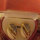 VINTAGE DIAMOND DUST GOLD TONE & IVORY ENAMEL CLIP EARRINGS HEARTSHAPE GIFT BOX