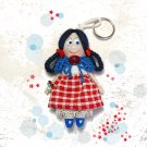 Small rag doll keychain. Doll accessory. Handmade keychain for bag. Gifts for girls.