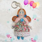 Keychain rag doll. Handmade pendant doll. Accessories for bag. Gifts for girls.