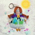Handmadecrafted doll keychain. Small rag doll. Doll accessory. Gifts for girls