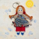 Bag charm tiny fabric doll. Handmadecrafted doll. Keychain rag doll. Moppet doll.
